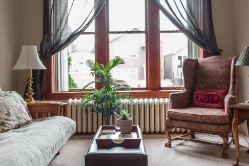 benedictine bed & breakfast living area